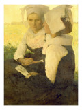 Young Breton Girls Giclee Print by Pascal Adolphe Jean Dagnan-Bouveret