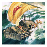 The Voyage of the Kon-Tiki Giclee Print by Ron Embleton