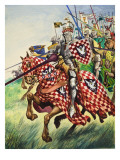 Knights Charging into Battle Lámina giclée por Peter Jackson