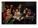 The Twelfth Night Feast Giclee Print by Jan Havicksz. Steen