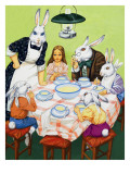 Taking Tea with Rabbits Giclee Print by  English School