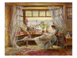 Reading by the Window, Hastings Premium Giclee Print by Charles James Lewis