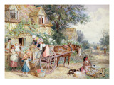Loading the Cart for Market Giclee Print by Myles Birket Foster