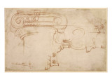 Study of an Ionic Capital Giclee Print by  Michelangelo Buonarroti