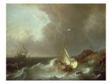 Galleon in Stormy Seas Giclee Print by Jan Claes Rietschoof