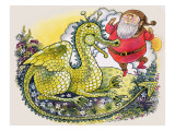 Dragon with Plump Bearded Man Giclee Print by  English School