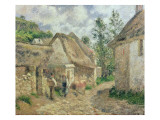 A Street in Auvers Giclee Print by Camille Pissarro