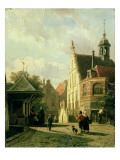 A Street Scene in a Dutch Town Giclee Print by Cornelis Springer