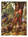 Robin Hood Trapped by Wolves Giclee Print by John Millar Watt