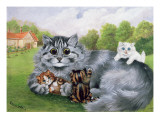 Cat and Her Kittens Giclee Print by Louis Wain