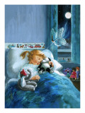Girl in Bed Attended by Fairy Reproduction proc&#233;d&#233; gicl&#233;e par English School 