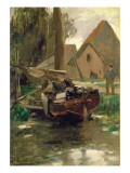 Small Harbour with a Boat Giclee Print by Thomas Ludwig Herbst