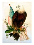 Bald Eagle with Flag Reproduction procédé giclée par American School