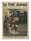 A Motor Car Crushed by a Train Giclee Print by  French School