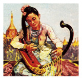 Burmese Girl Playing the Harp Giclee Print by  English School