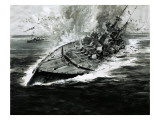 Sinking Battleship Giclee Print by Graham Coton