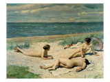 Nude Bathers on the Beach Giclee Print by Paul Fischer
