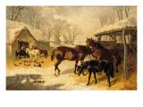 A Farmyard in Winter Premium Giclee Print by John Frederick Herring II