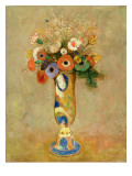 Flowers in a Painted Vase Premium Giclee Print by Odilon Redon