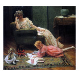 Watching the Child Play, 1909 Giclee Print by Charles Courtney Curran