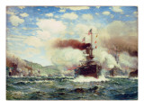 Naval Battle Explosion Giclee Print by James Gale Tyler