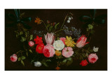 Tulips, Peonies and Butterflies Premium Giclee Print by Jan Van, The Elder Kessel