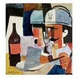 Soldier with Pipe and Bottle Giclee Print by Roger de La Fresnaye