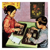 Children Using Abacus Giclee Print by  English School