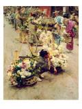 The Flower Market, Tokyo, 1892 Premium Giclee Print by Robert Blum