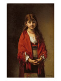 A Peasant Girl in a Red Shawl Giclee Print by Alexei Alexevich Harlamoff