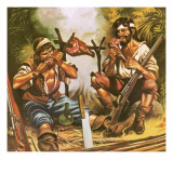 Pirates Eating Meat Giclee Print by Ron Embleton