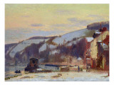 Hillside at Croisset under Snow Giclee Print by Joseph Delattre
