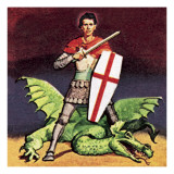 St George and the Dragon Giclee Print by English School