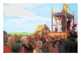Medieval Mystery Play Giclee Print by Ken Petts