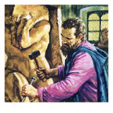 Michelangelo at Work Giclee Print by  English School