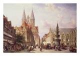 Market Scene at Braunschweig Giclee Print by Cornelis Springer