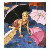 Boy Playing with Umbrellas Giclee Print by  English School