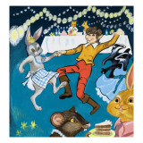 Boy and Rabbit Dancing Giclee Print by  English School