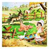 Little Girl at the Farm Giclee Print by English School