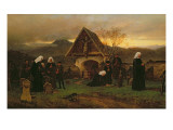 All Soul&#39;s Day in the Cemetery Giclee Print by Ludwig Friedrich Wilhelm Riefstahl