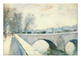Pont Royal, Paris, Winter Giclee Print by Lesser Ury