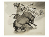 Bull Fighting Protest Giclee Print by  Mcbride