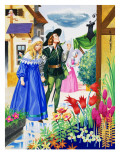 Couple Admiring Flowers Giclee Print by Jose Ortiz