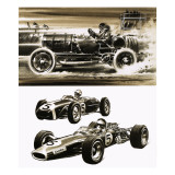 Racing Cars Giclee Print by Wilf Hardy
