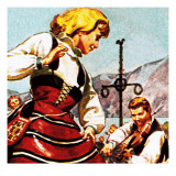 Swedish Girl Dancing Giclee Print by English School