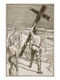 Oswald Erecting the Cross Giclee Print by F.h. Townsend