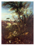 Wooded Landscape Gicle-tryk af Alessandro Magnasco
