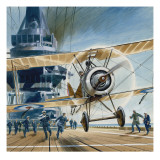 The First Deck Landing Giclee Print by Wilf Hardy