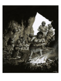 Cave Men at Work Giclee Print by Frank Marsden Lea