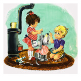 Dog Being Washed Giclee Print by English School